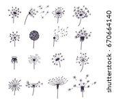 dandelion fluffy flower and... | Shutterstock . vector #670664140