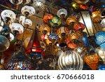 turkish various hand made lamps. | Shutterstock . vector #670666018
