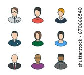 set of vector line style people ... | Shutterstock .eps vector #670666540