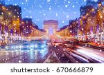 arch of triumph and champs... | Shutterstock . vector #670666879