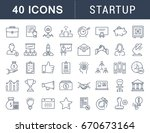 set of line icons startup and... | Shutterstock . vector #670673164