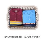 laundry basket with clothes.on... | Shutterstock . vector #670674454