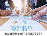 close up of business meeting... | Shutterstock . vector #670679194