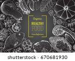 healthy food frame vector... | Shutterstock .eps vector #670681930