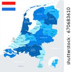 netherlands map and flag  ... | Shutterstock .eps vector #670683610