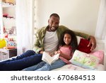 portrait of father and daughter ... | Shutterstock . vector #670684513