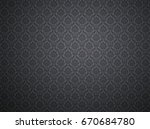 black damask wallpaper with... | Shutterstock . vector #670684780