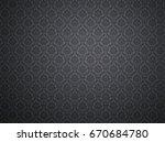 black damask wallpaper with... | Shutterstock . vector #670684780