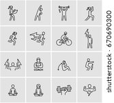 work out vector icons  | Shutterstock .eps vector #670690300