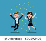 businessman and woman jump with ... | Shutterstock .eps vector #670692403