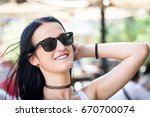 young woman portrait in... | Shutterstock . vector #670700074