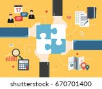 hands holding puzzle pieces and ... | Shutterstock .eps vector #670701400