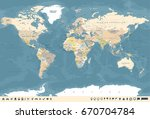 world map in vintage design.... | Shutterstock .eps vector #670704784