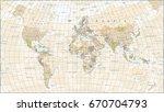 world map in vintage design.... | Shutterstock .eps vector #670704793