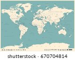 world map in vintage style.... | Shutterstock .eps vector #670704814