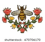 bee and flowers embroidery.... | Shutterstock . vector #670706170