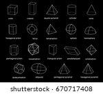 basic 3d geometric shapes.... | Shutterstock .eps vector #670717408