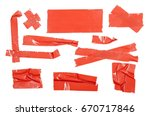 red duct repair tape isolated...   Shutterstock . vector #670717846