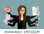happy business woman with many... | Shutterstock .eps vector #670722229