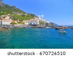 distant harbor and town of...   Shutterstock . vector #670726510
