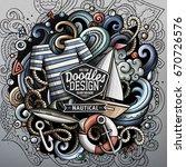 nautical cartoon vector doodle... | Shutterstock .eps vector #670726576
