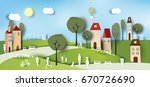 green eco city and life paper... | Shutterstock .eps vector #670726690