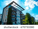 modern building with evy on a... | Shutterstock . vector #670733380