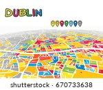 dublin  ireland  downtown 3d... | Shutterstock .eps vector #670733638