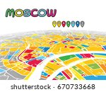 moscow  russia  downtown 3d... | Shutterstock .eps vector #670733668