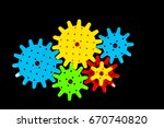 plastic gear wheel connected on ... | Shutterstock . vector #670740820
