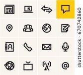 media communications icons set | Shutterstock .eps vector #670742860