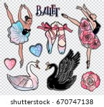 set of cute ballet related... | Shutterstock .eps vector #670747138