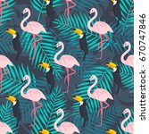 seamless pattern with flamingo... | Shutterstock .eps vector #670747846