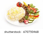 grilled minced meat lamb skewer ... | Shutterstock . vector #670750468