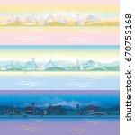cartoon village landscape with... | Shutterstock .eps vector #670753168