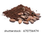 heap of dark cocoa powder with... | Shutterstock . vector #670756474