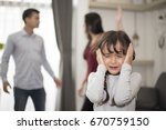 little girl was crying because... | Shutterstock . vector #670759150