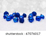 blue christmas balls on a snow... | Shutterstock . vector #67076017