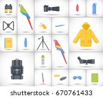 birding travel flat vector... | Shutterstock .eps vector #670761433