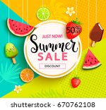 Summer geometric sale banner with fruits, ice-cream, flowers. Vector illustration.   Shutterstock vector #670762108