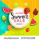 summer geometric sale banner... | Shutterstock .eps vector #670762108