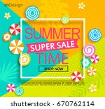 summer geometric  super sale... | Shutterstock .eps vector #670762114
