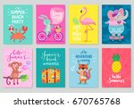 animals card set  hand drawn... | Shutterstock .eps vector #670765768