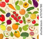 fruits and vegetables vector... | Shutterstock .eps vector #670765780