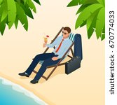 businessman relaxing on his sun ... | Shutterstock .eps vector #670774033