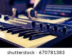 synthesizer keyboard in music... | Shutterstock . vector #670781383
