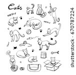 cute cats icons set. hand drawn ... | Shutterstock .eps vector #670787224