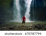 waterfall hidden in the... | Shutterstock . vector #670787794