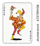 Joker Playing Card With Red An...