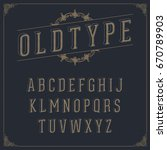 vintage style alphabet on dark... | Shutterstock .eps vector #670789903